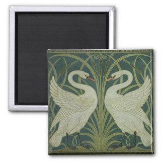 'Swan, Rush and Iris' wallpaper design 2 Inch Square Magnet