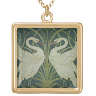 'Swan, Rush and Iris' wallpaper design Gold Plated Necklace
