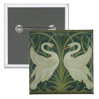 'Swan, Rush and Iris' wallpaper design Pinback Button
