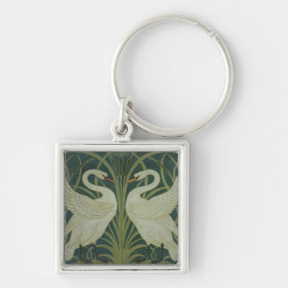 'Swan, Rush and Iris' wallpaper design Silver-Colored Square Keychain