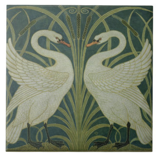 'Swan, Rush and Iris' wallpaper design Tile