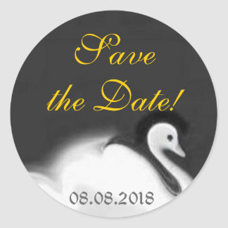 Swan ~ Save the date Classic Round Sticker