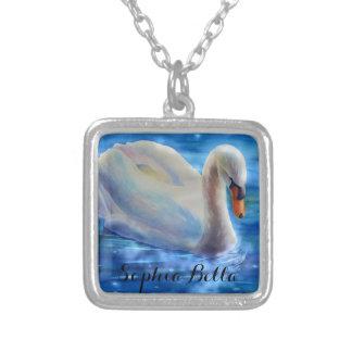 Swan Serenity - monogram Square Pendant Necklace