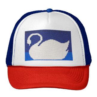 Swan Silhouette Crochet Red White and Blue Trucker Hat
