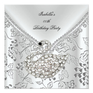 Swan Silver Damask White Elegant Birthday Card