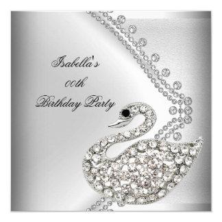 Swan Silver White Elegant Birthday Party Card