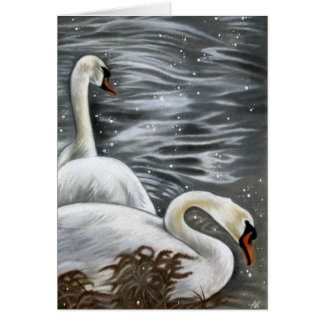 Swan Song Beautiful White  Swans Greeting Card