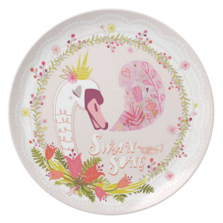 Swan Song Melamine Plate