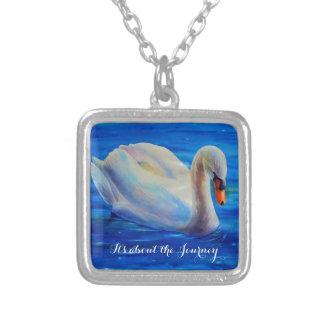 swan square pendant necklace