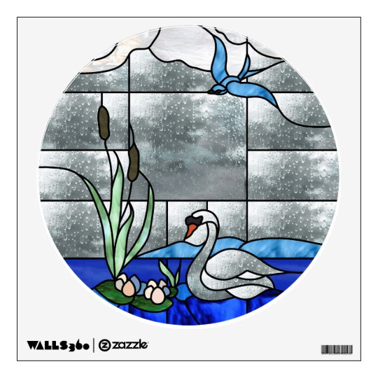 Swan Stained Glass Window Decal | Zazzle