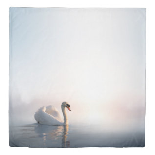 Swan Sunrise (1 Side) Queen Duvet Cover at Zazzle