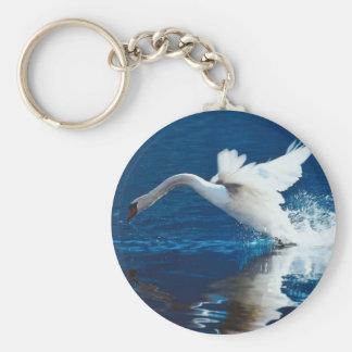 Swan Taking Flight Basic Round Button Keychain