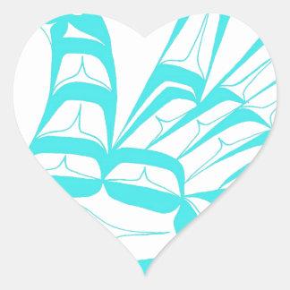 SWAN TEAL HEART STICKER