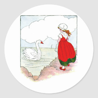 Swan Vintage The Real Mother Goose Round Sticker
