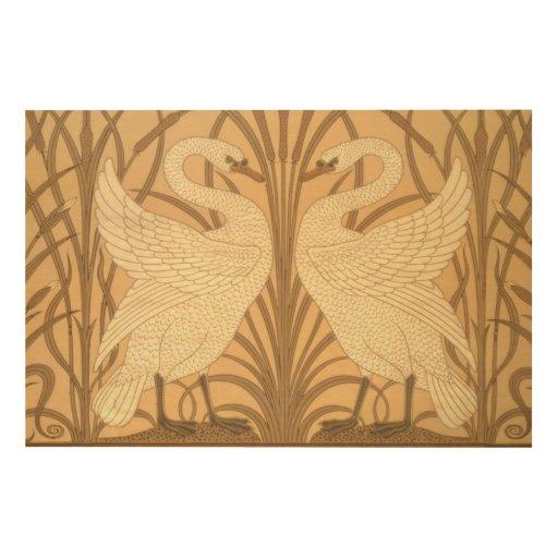 Swan Wallpaper Design Wood Print Zazzle