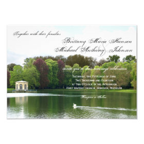 Swan Wedding Invitation with Green Trees & Lake