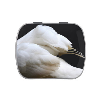 swan wings against dark background animal image candy tin