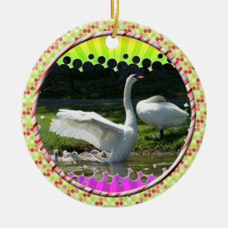 SWAN WINGS SPREAD WIDE WITH FAMILY CERAMIC ORNAMENT