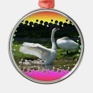 SWAN WINGS SPREAD WIDE WITH FAMILY METAL ORNAMENT