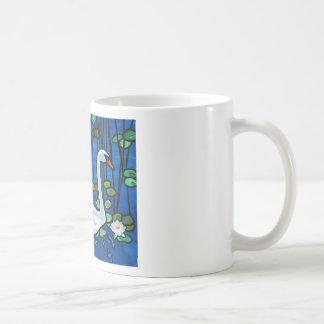 Swan with Waterlily Classic White Coffee Mug