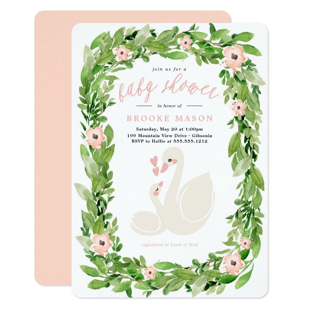 Swan Wreath Spring Baby Shower Invitation