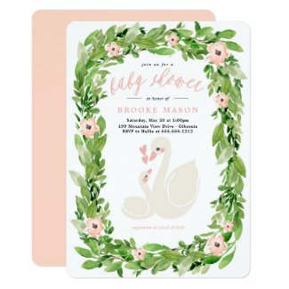 Swan Wreath Spring Baby Shower Invitation