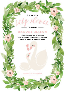 Spring baby shower invitations zazzle swan wreath spring baby shower invitation filmwisefo