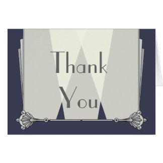 Swanky Art Deco in Blue Thank You Card