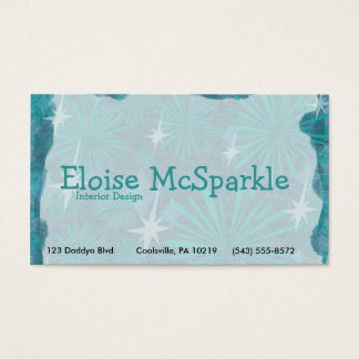 Swanky Blue Retro Business Card