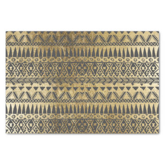 "Swanky Faux Gold and Black Hand Drawn Aztec 10"" X 15"" Tissue Paper"