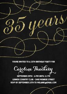 Modern 35th birthday invitations zazzle swanky faux gold foil 35th birthday party invitation filmwisefo
