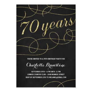 Swanky Faux Gold Foil 70th Birthday Party Card