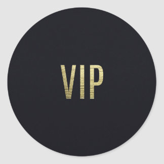 """Swanky Faux Gold Leaf Foil """"VIP"""" Typography Classic Round Sticker"""