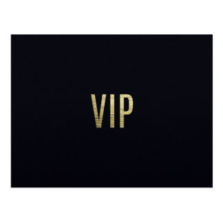 """Swanky Faux Gold Leaf Foil """"VIP"""" Typography Postcard"""