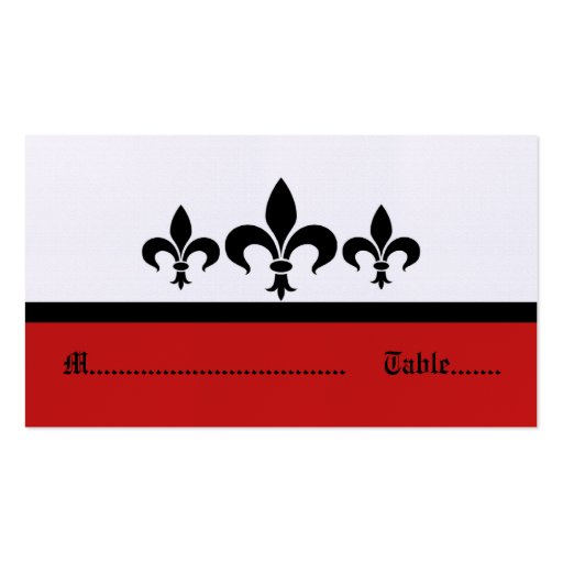 Swanky Fleur De Lis Place Card, Red Business Card