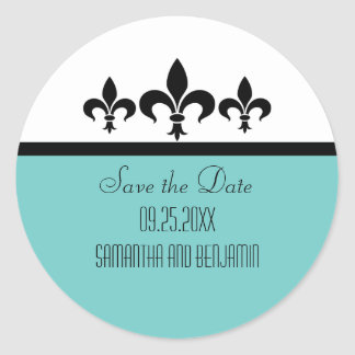 Swanky Fleur De Lis Save the Date Stickers