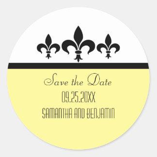 Swanky Fleur De Lis Save the Date Stickers
