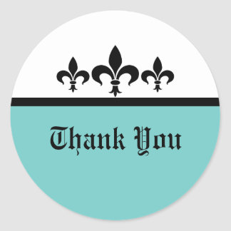 Swanky Fleur De Lis Thank You Stickers, Aqua Classic Round Sticker