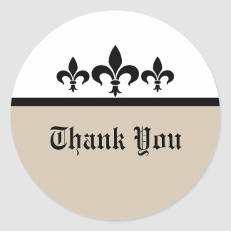Swanky Fleur De Lis Thank You Stickers, Beige Classic Round Sticker