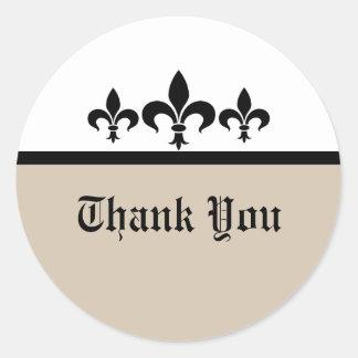 Swanky Fleur De Lis Thank You Stickers, Beige Classic Round Sticker
