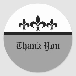 Swanky Fleur De Lis Thank You Stickers, Gray Classic Round Sticker