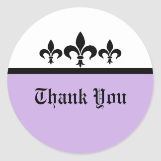 Swanky Fleur De Lis Thank You Stickers, Lilac Classic Round Sticker