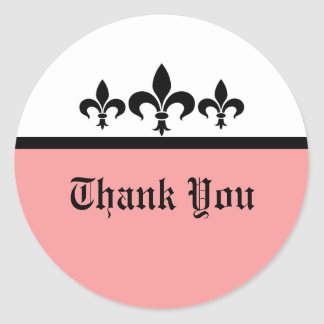 Swanky Fleur De Lis Thank You Stickers, Pink Classic Round Sticker