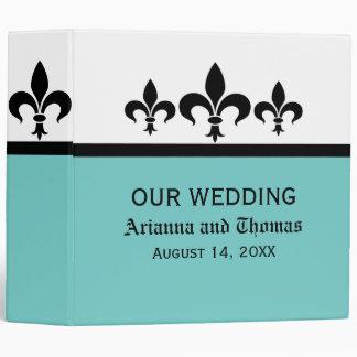Swanky Fleur De Lis Wedding Binder, Aqua Binder