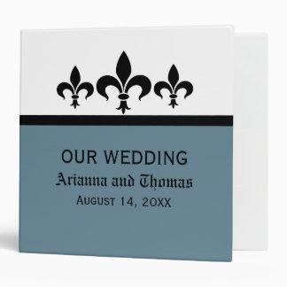 Swanky Fleur De Lis Wedding Binder, Blue 3 Ring Binder