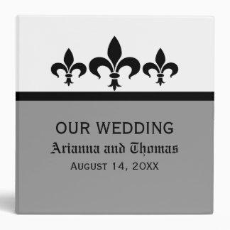Swanky Fleur De Lis Wedding Binder, Gray 3 Ring Binder