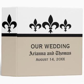 Swanky Fleur De Lis Wedding Binder, Latte 3 Ring Binder
