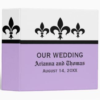 Swanky Fleur De Lis Wedding Binder, Lilac Binder