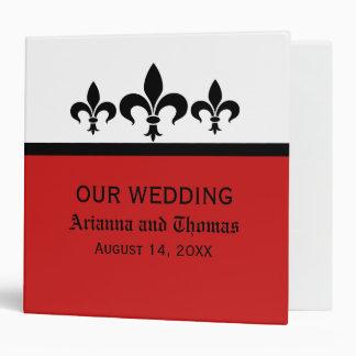 Swanky Fleur De Lis Wedding Binder, Red 3 Ring Binder