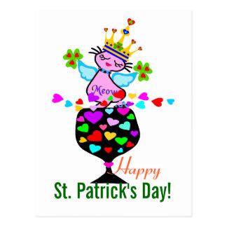 ♫♥Swanky Queen-Cat-St. Patrick's Day Postcard♥♪